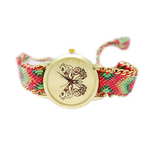 Braided butterfly quartz costumes clothing features hand-woven watches 2017 new casual fashion high-end atmospheric watches(China)