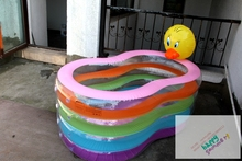 Duck Shape Kids Swimming Pool Inflatable Splayed Baby Childeren Bath Pool For Sale,4 Ring(China)