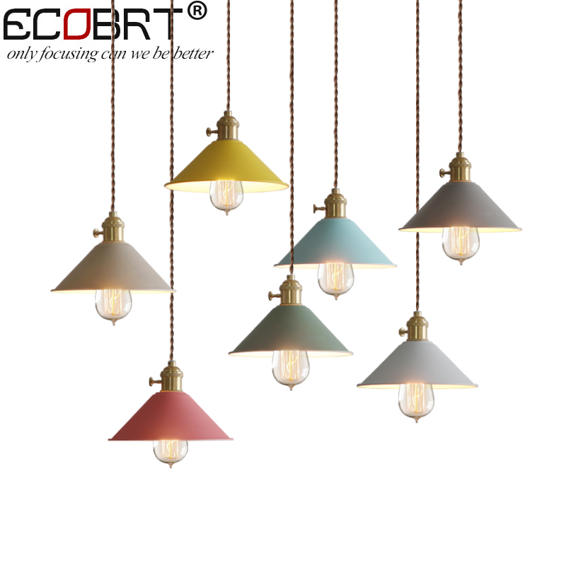 ECOBRT Macaron lampshade , luminaire pendant lights modern pendant lamp for restaurant coffe bar shop lighting fixture E27