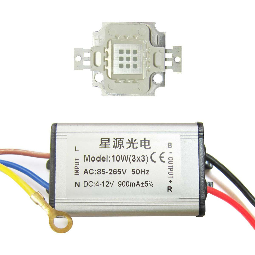 10W Square Base UV Ultravioled 365nm LED diodes Light Parts + AC 85~265V Waterproof LED driver<br>