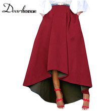Dear lover Plus Size Skirt High Waisted Asymmetric Skirts Womens Bottoms Pleated Skirt Midi Black Red Blue Grey 2017(China)