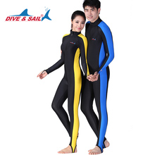 DIVE&SAIL one piece women Lycra Rash Guard Surf wetsuits Side bar Swimwear women men Long sleeves diving suit UPF 50+ Surf(China)