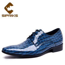 Sipriks Black Patent Leather Dress Shoes Men Ppinted Toe Mens Blue Formal Tuxedo Shoes Crocodile Skin Leather Shoes Shiny Shoes