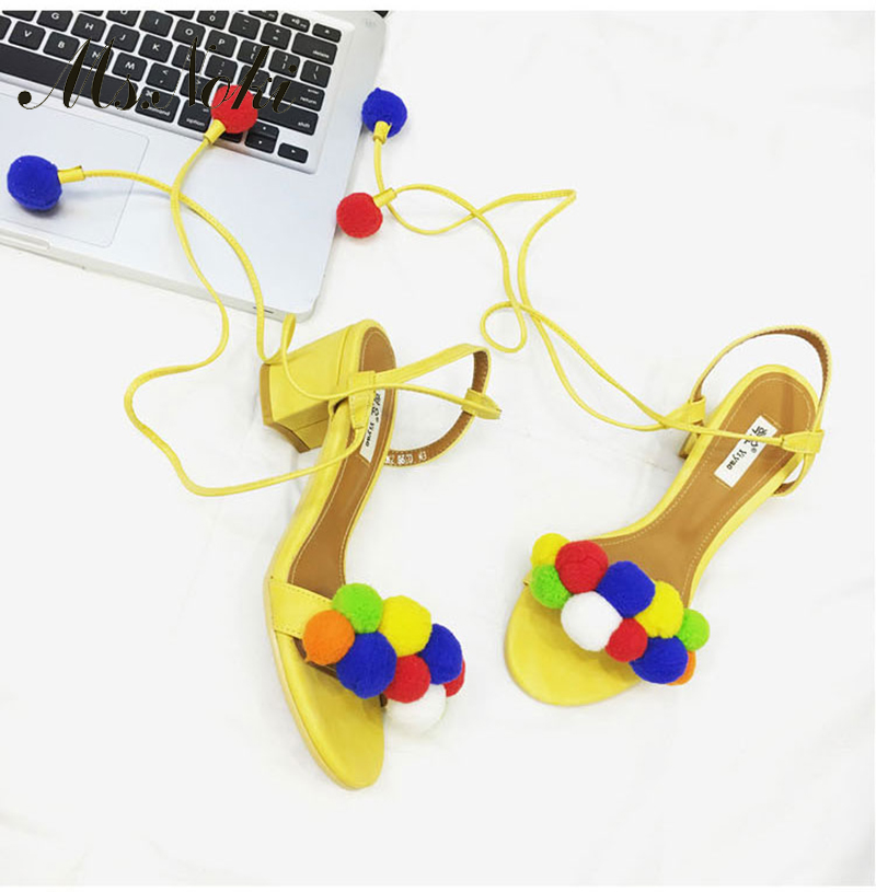 Ms. Noki Summer Fur Pumps Sweet Women Soft Fur Bobbles Ankle Strap Sandals Thin Cover Med Heels Cut out Runway Shoes<br><br>Aliexpress