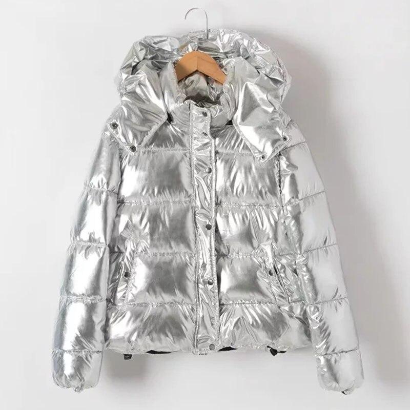Warm Chic Bomber jackets High waist Cotton padded Coat Silver metal color Parka Zipper hooded Down and Parkas jacket StreetwearÎäåæäà è àêñåññóàðû<br><br>