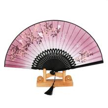 Linen Butterfly Flowers Hand Fan Lacquer Handle Japanese Folding Fan Free Shipping