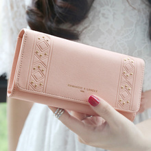 Hot sale new High quality PU leather wallets women fashion three fold simple personality rivet long design wallet purse(China)