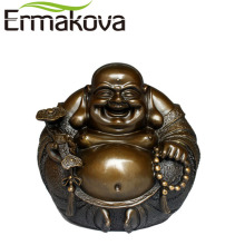 ERMAKOVA 6cm or 12cm Brass Happy Buddha Figurine Fengshui Laughing Maitreya Statue Smiling Buddha Home Car Office Decor(China)