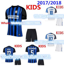 Hot sales 2017 2018 Inter Milanes Thai best Quality kids soccer Jersey 17 18 Child kit Home blue Away white free shipping(China)