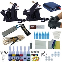 Starter Beginner Complete Tattoo Kit Professional Tattoo Machine Kit Rotary Machine Guns 6 Inks Power Supply Grips Set(China)