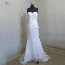 2016 Sleeveless Lace Strapless Court Train Floor-length Zipper Mermaid Off The Shoulder Sexy Wedding Dress Mariage Bride Gowns