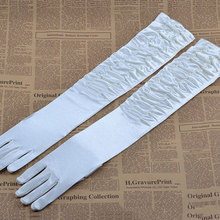 Black White Finger Bridal Bloves Long Opera Length Satin Wedding Accessories Gloves Sarung Tangan Wholesale Price New Style