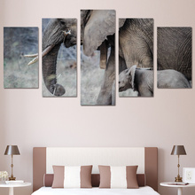 5 piece art canvas painting HD print wall decorations living room cute animal elephant side face framed artwork ny-6031
