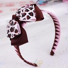 12pcs Free Shipping Giraffe Print Boutique Bow on Woven Headband(China)