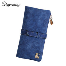 Slymaoyi New Fashion Women Wallets Drawstring Nubuck Leather Zipper Wallet Women's Long Design Purse Two Fold More Color Clutch(China)
