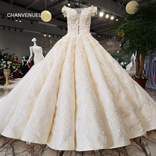 Buy LS35471 mariage gown sleeveless o-neck ball gown ivory pleatpuffy long train wedding dress 2018 new design real pictures 2018 for $742.55 in AliExpress store