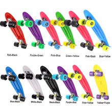 New 22 inch Retro Classic Cruiser Style Skateboard Complete Deck Plastic Mini Skate Board 12 Colors(China)