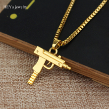 Wholesale 5  Fashion personality Hip Hop Uzi Gun Necklaces & Pendants Rose gold Chain Necklace for Men Women Party Accessories