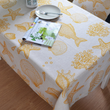 Mediterranean Style Table Cloth Cotton Linen Tablecloths Ocean Animals Tablecloth Customize Tablecloths