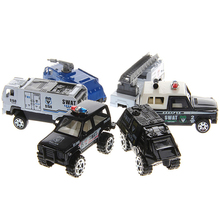 New 6Pcs 1:87 Diecast Military Police Trucks Car Kids Alloy Model Toys Collection