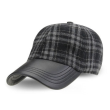 New adjustable strapback tartan plaid cotton baseball cap with leather visor women men unisex sun hat high quality bone gorras(China)