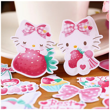 26pcs Creative Cute Self-made  hello kitty Strawberry girl Scrapbooking Stickers /Decorative Sticker /DIY Craft Photo Albums