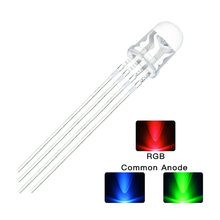 10pcs/lot 5mm RGB LED Common Cathode 4Pin Red Green Blue LED Round Tricolor LED Light Emitting Diode Transparent Lamp(China)