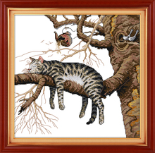 A Lazy Cat Counted 11CT 14CT DMC Cross Stitch DIY Dimension Cross Stitch Kits for Hot Embroidery Home Decor Needlework Crafts(China)