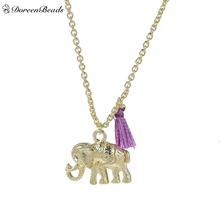 "DoreenBeads Boho Chic Necklace Link Cable Chain Gold color Purple Elephant Animal Tassel 43.3cm(17"") long, 1 Piece"