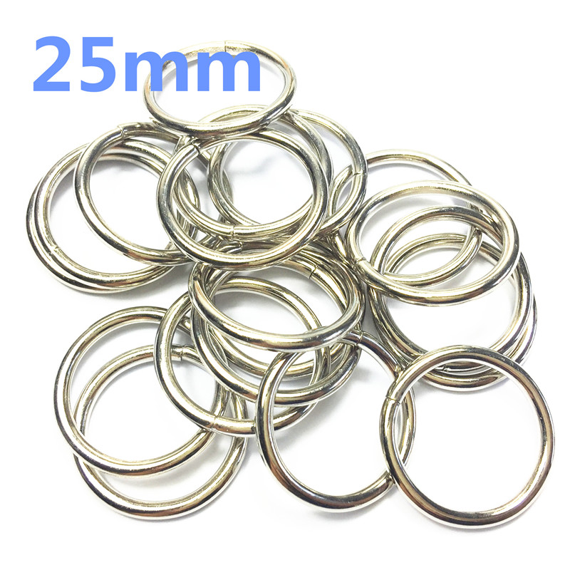 10- 25mm silver Non Welded Metal O Ring Nickel&Black Nickel Plated Backpack Collar Harness Rings Bag Parts Accessories