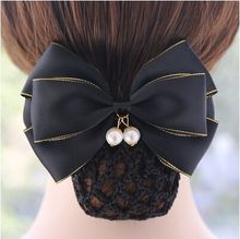 New Arrival Pearl Solid Color Satin Bow Barrette Lady Headband Hair Clip Cover Bowknot Bun Snood Women Bow Hair Accessories