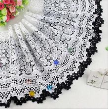Top Quality 25cm 15yards Black/white Lace Water Soluble Fabric Milk Rayon Material DIY Craft Accessary Free Shipping