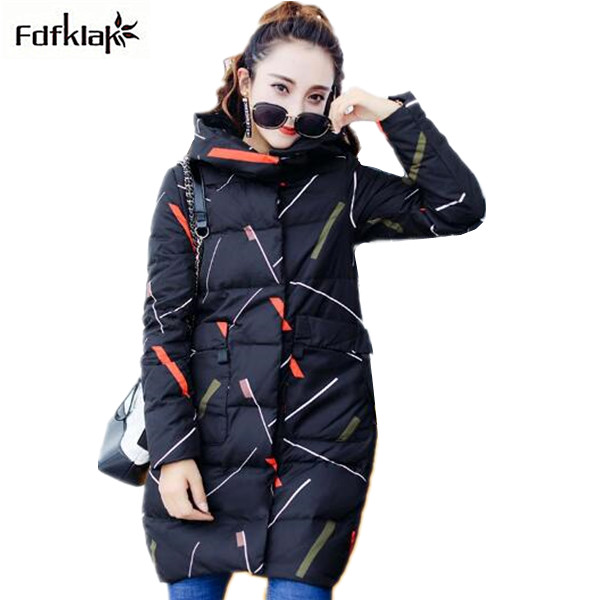 Fdfklak Winter Jaket Women Long Cotton Womens Coats 2017 New Hooded Warm Female Jacket Print Ladies Jackets Coats Parka b054Îäåæäà è àêñåññóàðû<br><br>
