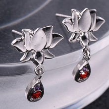 2017  Wholesale Newest Lotus Flower Silver Plated Earrings Crysta Imitation Jewel Earrings Jewelry For Women Wedding
