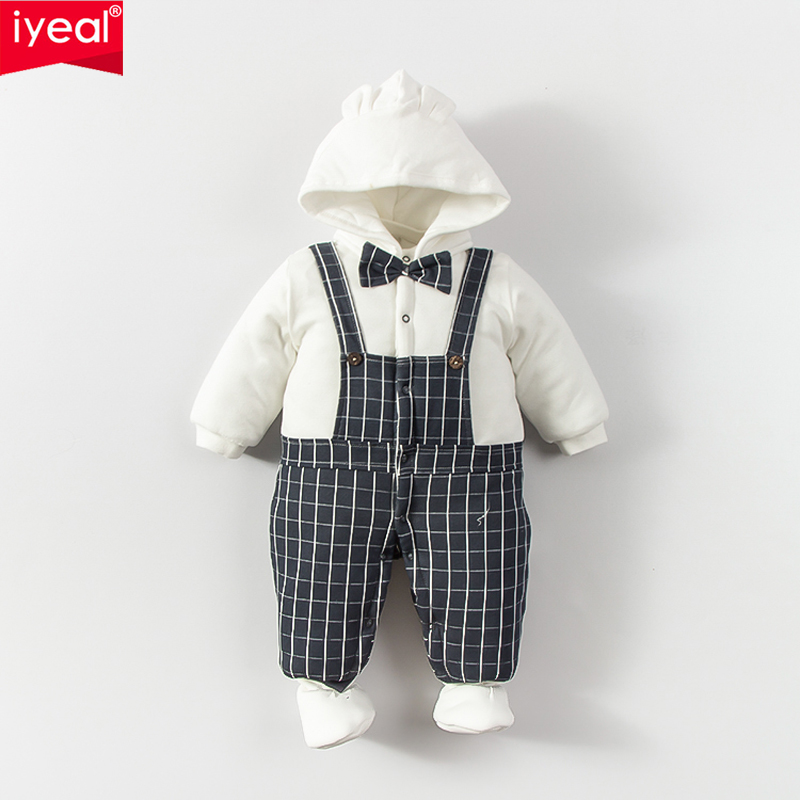 IYEAL Fashion Newborn Baby Rompers Winter Baby Boy Clothes Warm Cotton Long Sleeve Printed Baby Overalls Kids Jumpsuit for 0-12M<br>