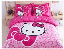 Home textiles bedclothes,Hello kitty kids bedding set Children Cartoon pattern bedroom comforter set  free shipping