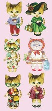 Miss Cat Print Scrapbooking Offset Press Film Iron-on Cloth Materials Offset PET Transfer Sticker DIY Bags Hat Patches 10x19cm