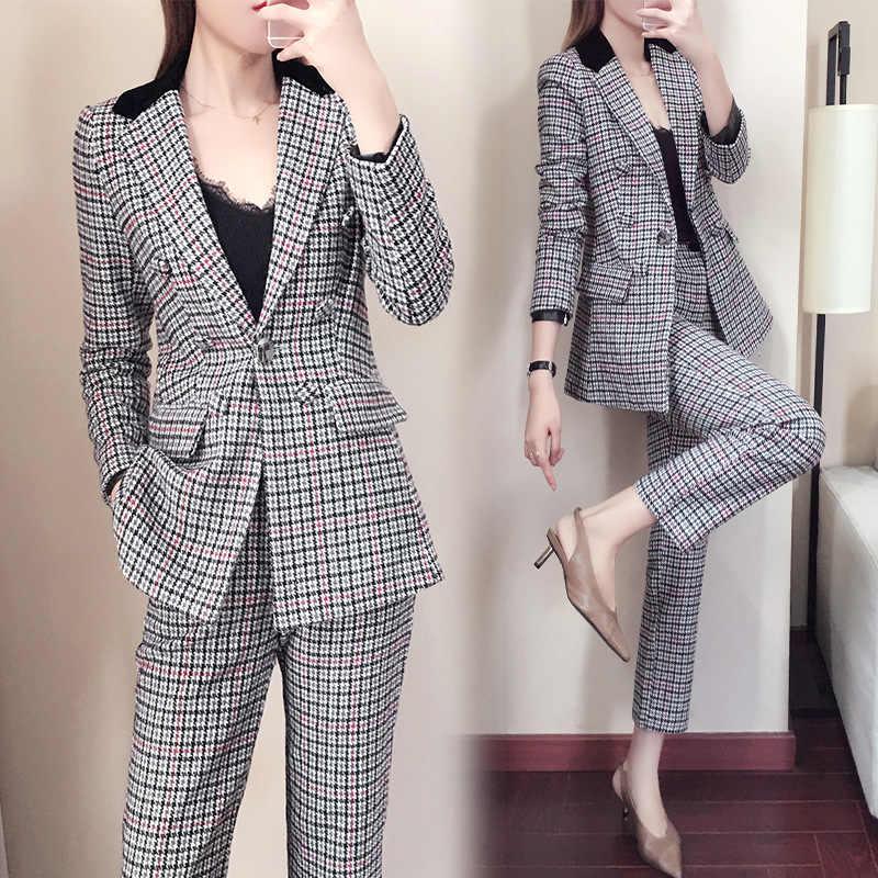 Pant Suits women s classic pants suits fashion plaid turn down collar suit  coat jacket female office a9e50ce05257