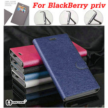 Luxury flip stand wallet style card slots silk matte back pu leather case for BlackBerry priv Mobile Phone bag HY03