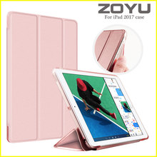 Case for iPad 9.7 inch Soft edge 2017, ZOYU PU Leather+Ultra Slim Light Weight PC Back Cover Case for iPad 9.7 2017 New model