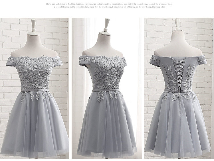 LAMYA Short Chiffion A Line Prom Dresses 2018 Boat Neck Lace Evening Party Dress Cheap Elegant Special Occasion Gowns 1