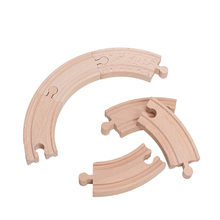 10pcs 3.5inch Curved Tracks Fit Major Brand Wooden Train Track Set Educational Toys Railway Accessories bloques de construccion