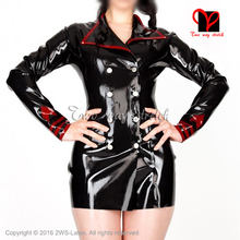 Buy Sexy black red Latex Military Dress Rubber Uniform Police Army Playsuit Garrison Bodycon QZ-112