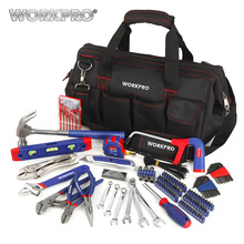 WORKPRO 156PC Home Tool Set Plumbing Plier Needle Nose Pliers Dual wrench Set Hammer Saw Screwdriver Bits Set Hex Key Tape Level