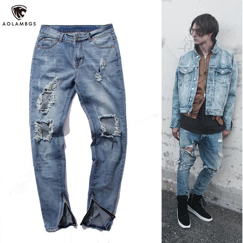 Men jeans with holes knee ripped skinny jeans destroyed torn jean pants tide brand hip hop rock side zipper mens pencil jeansОдежда и ак�е��уары<br><br><br>Aliexpress