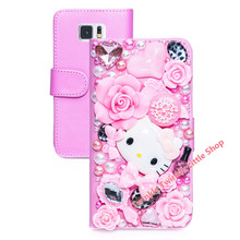 Cute Hello Kitty Crystal Flip Wallet Leather Case For Samsung Galaxy S6 and Galaxy S6 edge Phone Cases Accessories Protector