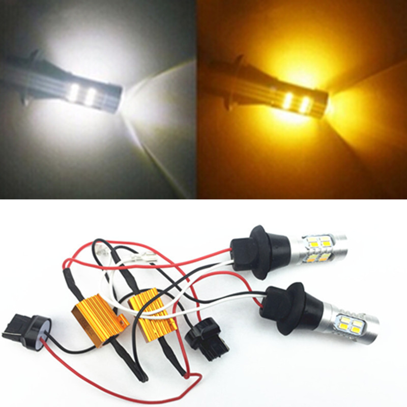 for 2x 50W 2835 42SMD 7440 W21W T20 Error Free Canbus LED 12V DRL Turn Signal Double Color Front Daytime Running Light Lamp Bulb<br><br>Aliexpress