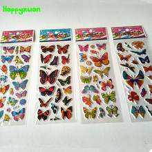 Happyxuan 50 Sheets /lot Cartoon Puffy Stickers Children Butterfly Mini 17*7cm girl's classic toys(China)