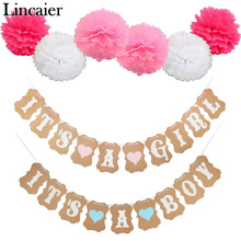 Lincaier Baby Shower 3M Paper Its a Boy Girl Banner Party Baptism Decorations Bunting Favors Supplies Blue Pink Babyshower(China)