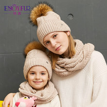ENJOYFUR women hat and scarf set for girl wool knitted baby hat girl female winter scarf cotton caps children boy Parental suit(China)
